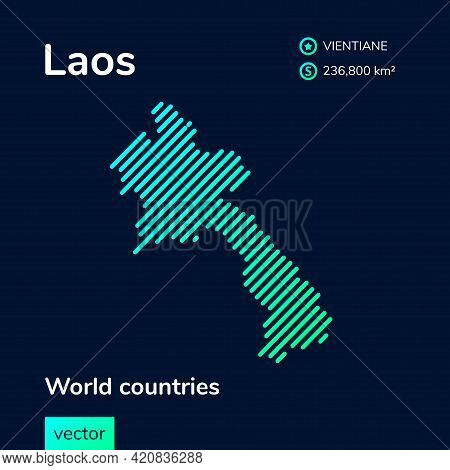 Vector Creative Digital Neon Flat Line Art Abstract Simple Map Of Laos With Green, Mint, Turquoise S