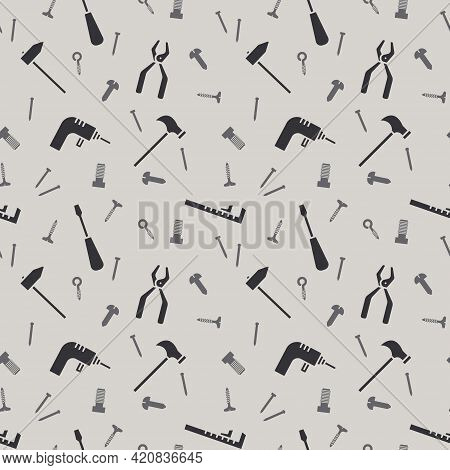 Seamless Pattern With Work Tools. Isolated Working Equipment On Grey Background. Vector Illustration