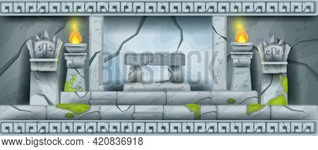 Stone Temple Vector Ancient Interior Background, Mayan Tomb Game Background, Altar, Stone Totem Face