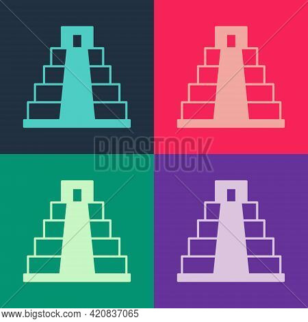 Pop Art Chichen Itza In Mayan Icon Isolated On Color Background. Ancient Mayan Pyramid. Famous Monum