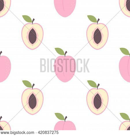 Illustration With Colored Seamless Purple Plum, Bright Fruit Pattern For Print, Fruit Pattern Consis