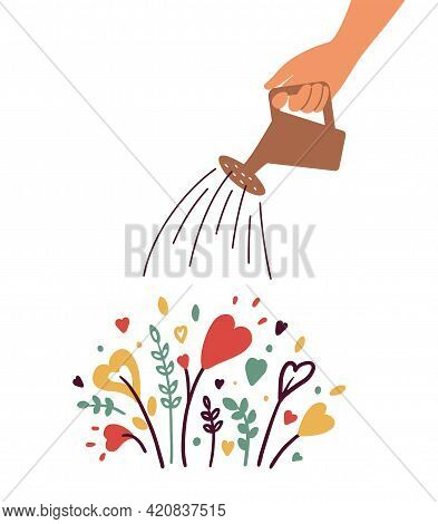 Growing Love, Health Care, Wellbeing Or Wellness. Human Hand With Watering Can Irrigates Blossom Hea