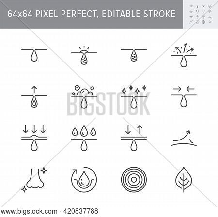 Cosmetic Properties Line Icons. Vector Illustration Include Icon - Whitening, Acne, Moisturizing, Co