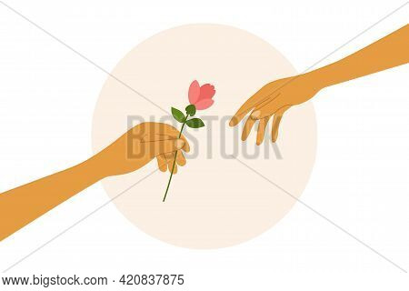 Love, Dating, Romantic Relationship. Human Hand Holding Out Flower To Partner. Couple Of Lovers. Giv