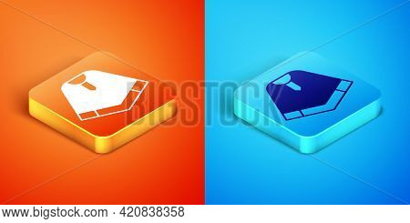 Isometric Traditional Mexican Poncho Clothing Icon Isolated On Orange And Blue Background. Vector
