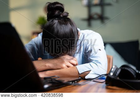 Young Business Woman Sleeping By Closing Laptop While Working, Concept Of New Normal Burnout, Over O