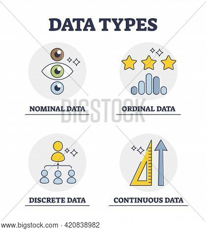 Data Types And Scientific Info Classification And Division Groups Explanation Outline Diagram. Label
