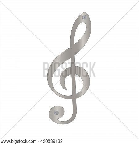 Metal Plate G-clef Icon. Vector Illustration On White Background