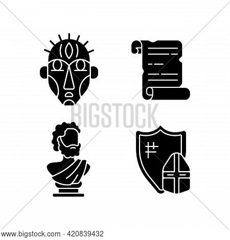 Exploring Ancient Lives Black Glyph Icons Set On White Space. Ritual Masks. Manuscripts. Sculpted Ph