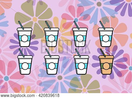 Composition of summer cocktails on multi coloured floral patterned background. summer and holiday concept digitally generated image.