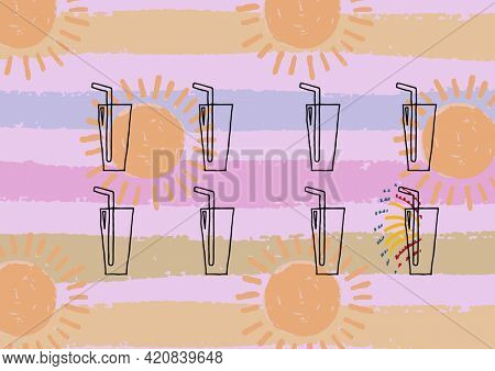 Composition of summer cocktails on sun and striped patterned purple background. summer and holiday concept digitally generated image.