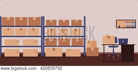 Warehouse: Racks With Boxes And Workplace Of Warehouse Manager, Storekeeper Or Warehouse Worker.tape