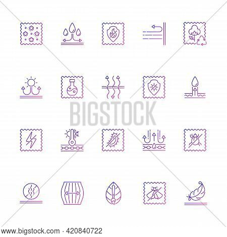 Different Types Of Fabric Feature Gradient Linear Vector Icons Set. Fiber Characteristics. Clothing