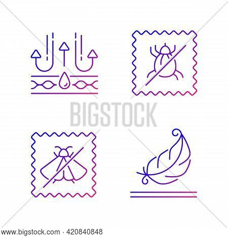 Fabric Quality Characteristics Gradient Linear Vector Icons Set. Moth Protection, Light Textile. Dus