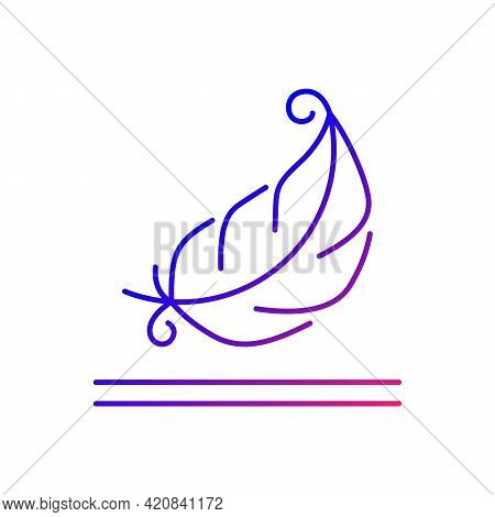 Lightweight Fabric Property Gradient Linear Vector Icon. Feather Symbol For Pillows, Blankets. Soft