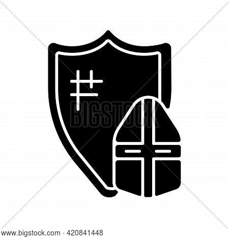 Knight Armor Black Glyph Icon. Medieval Knight Suit. Middle Ages. Helmet, Shield. Jousting. Plate Ar