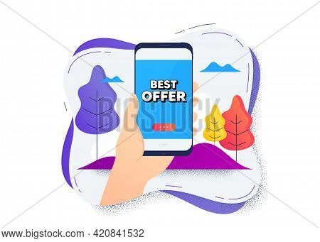 Best Offer. Hand Hold Mobile Phone Icon. Smartphone Message. Special Price Sale Sign. Advertising Di