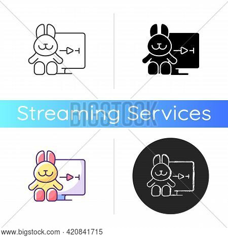 Cartoons Streaming Icon. Family-friendly Shows. Entertainment Content For Toddlers. Animated Films.
