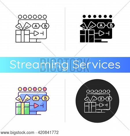 Tv Shows Streaming Icon. Viewing Connected Episodes. Programs On Tv. Watching Sitcoms, Dramas. Telev