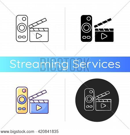 Movies Streaming Icon. Moving Picture On Television. Tv Shows Online. Theatre-style Movie Experience