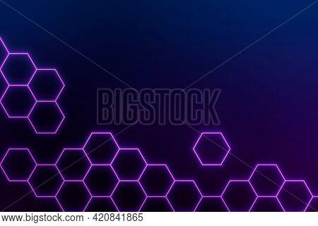 Glowing purple neon hexagonal patterned background