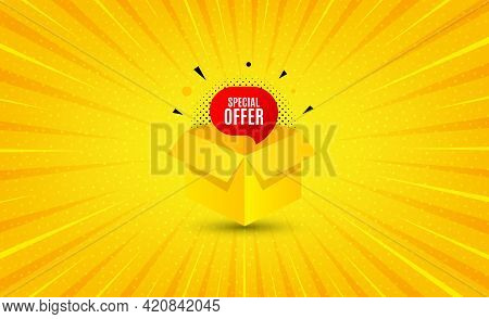 Special Offer Banner. Yellow Background With Offer Message. Discount Sticker Shape. Gift Coupon Icon