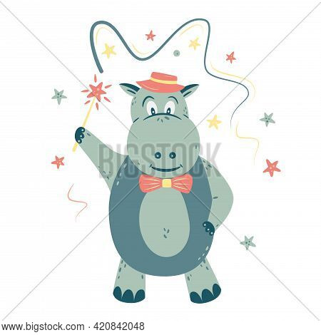 Nursery Vector Illustration In Cartoon Style. Hippo With A Magic Wand; Tape And Stars. For Baby Room