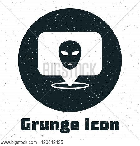 Grunge Alien Icon Isolated On White Background. Extraterrestrial Alien Face Or Head Symbol. Monochro