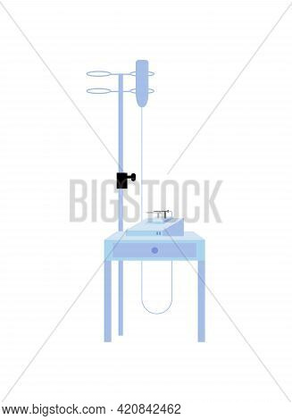 Drop Counter Flat Color Vector Object. Infusing Medications, Nutrition, Liquid Substances Directly I