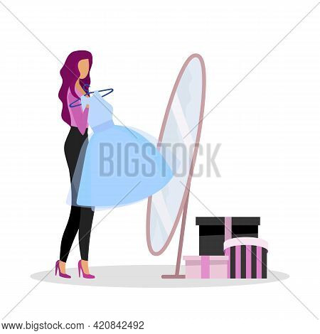 Trying On New Dress At Shop Flat Color Vector Faceless Character. Changing Room. Selecting Fashionab