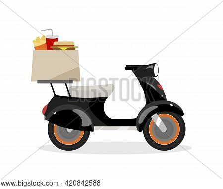 Delivering Fast Food On Scooter Flat Color Vector Object. Ordering Takeout From Restaurant To Home.
