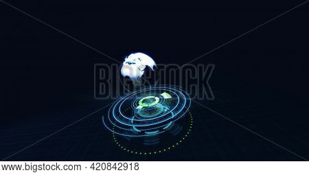 Composition of globe over scope scanning on black background. global online business, networking and digital interface concept digitally generated image.