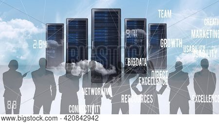 Composition of online digital icons and text over people silhouettes and computer servers. global online business, networking and digital interface concept digitally generated image.