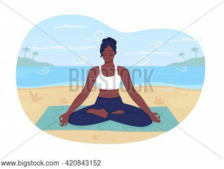 Summer Beach Relaxation 2d Vector Web Banner, Poster. Recreational Retreat. Meditating African Ameri