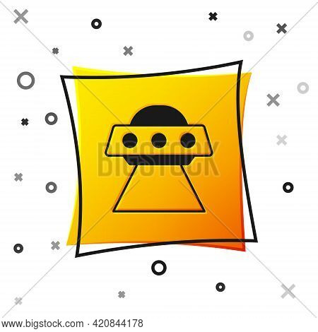 Black Ufo Flying Spaceship Icon Isolated On White Background. Flying Saucer. Alien Space Ship. Futur