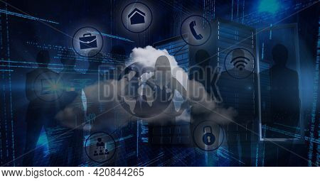 Composition of network of online digital icons over people silhouettes and computer servers. global online business, networking and digital interface concept digitally generated image.