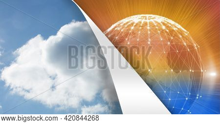 Composition of sky layer revealing globe of networks of connections on orange background. global networking and digital interface concept digitally generated image.