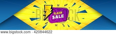 Flash Sale Banner. Abstract Background With Offer Message. Discount Sticker Shape. Coupon Bubble Ico