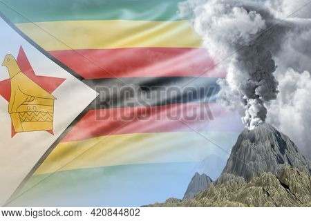 Volcano Blast Eruption At Day Time With White Smoke On Zimbabwe Flag Background, Troubles Because Of