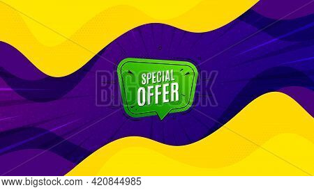 Special Offer Banner. Fluid Liquid Background With Offer Message. Discount Sticker Shape. Sale Coupo