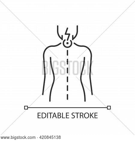 Neck Pain Linear Icon. Nerve Root Compression. Cervical Radiculitis. Pressure On Spinal Nerves. Thin