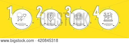 Parking, Honeymoon Travel And World Travel Line Icons Set. Timeline Process Infograph. Park Pointer,