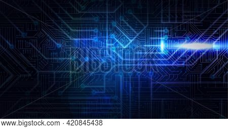 Digitally generated image of glowing blue microprocessor connections against black background. computer interface and technology concept