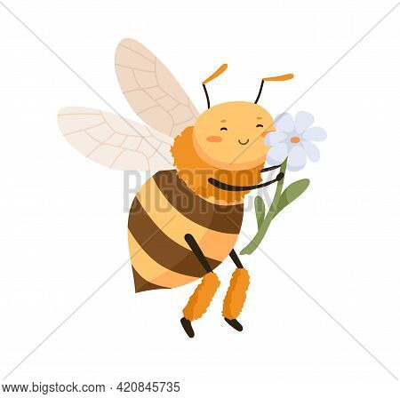 Cute Happy Bee Pollinating And Smelling Fragrant Flower. Adorable Honeybee Smiling And Enjoying. Chi