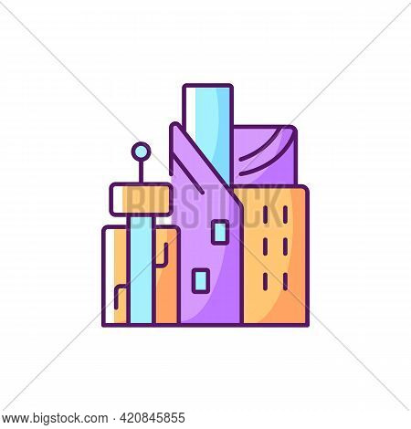 Cyberpunk City Rgb Color Icon. Skyscrapers Of Business Centers. High Tech Metropolis Buildings. Dyst