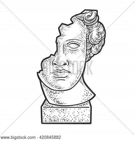 Broken Head Of Statue Sculpture Sketch Engraving Vector Illustration. T-shirt Apparel Print Design.