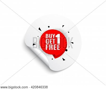 Buy 1 Get 1 Free Sticker. Circle Sticker With Offer Banner. Discount Banner Tag. Coupon Icon. Round
