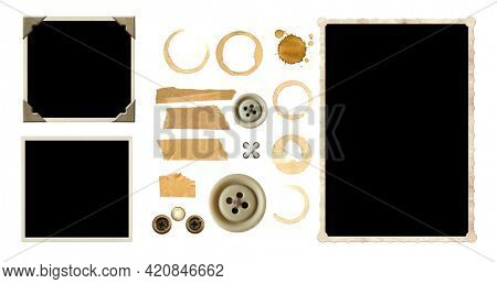 Vintage elements for scrapbooking. Old retro photos, vintage button, scotch tape, coffee stains. Objects isolated on white background. Mock up template. Copy space for text