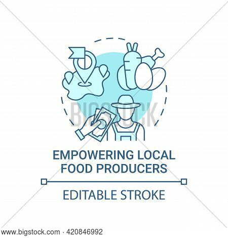 Empowering Local Food Producers Concept Icon. Eating Health Natural Meals In Schools. Full Nutrition