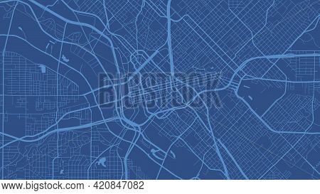 Blue Dallas City Area Vector Background Map, Streets And Water Cartography Illustration. Widescreen